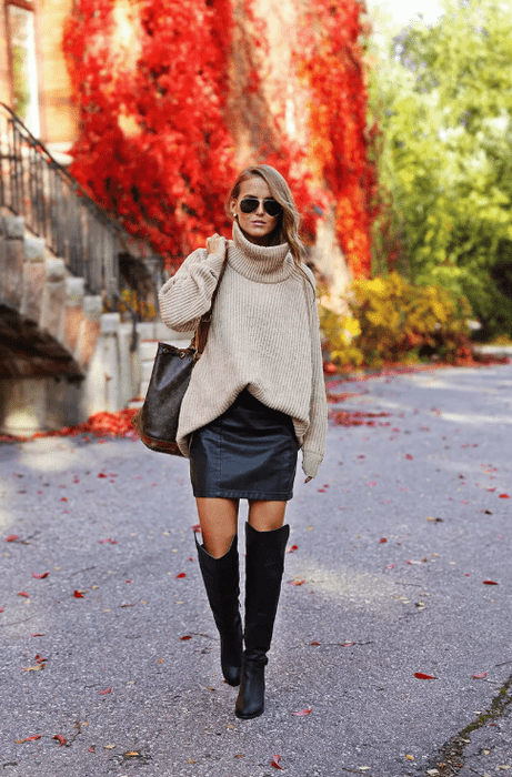 С чем можно носить женский свитер оверсайз