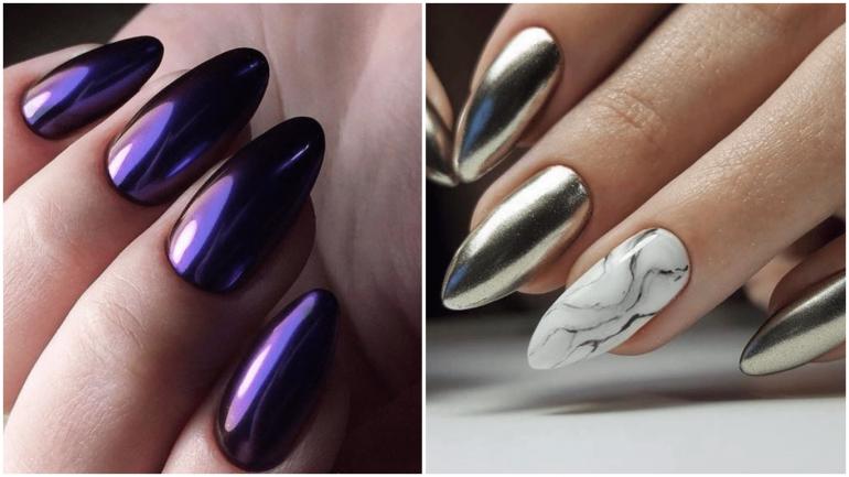 Металлический дизайн ногтей
