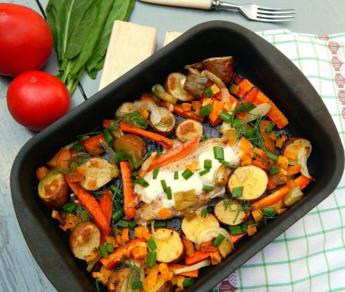 Прессованные бедрышки с овощами