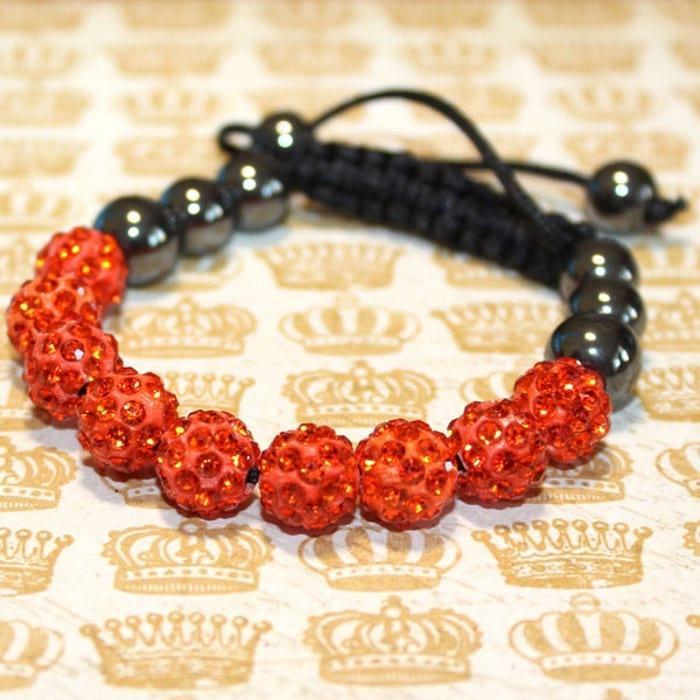 браслет Шамбала оранжевого цвета