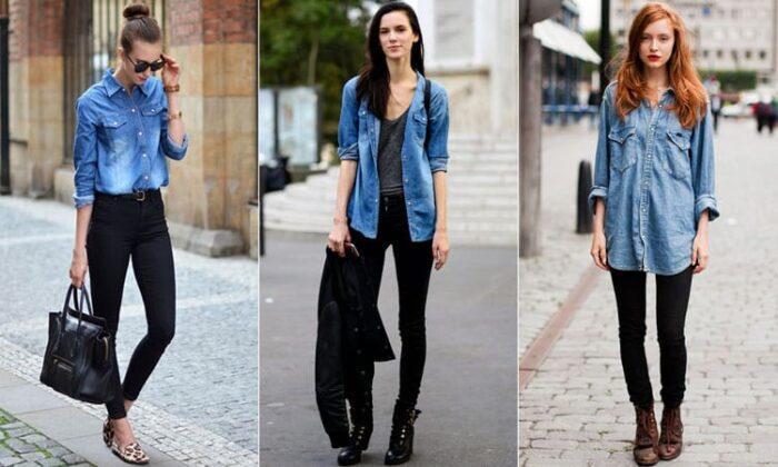джинсы и джинсовая рубашка