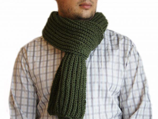 "Вязаный шарф узор ""резинка"""