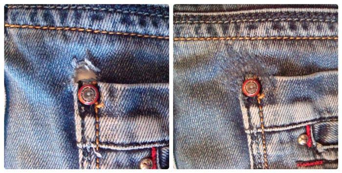 Как зашить дырку возле кармана?