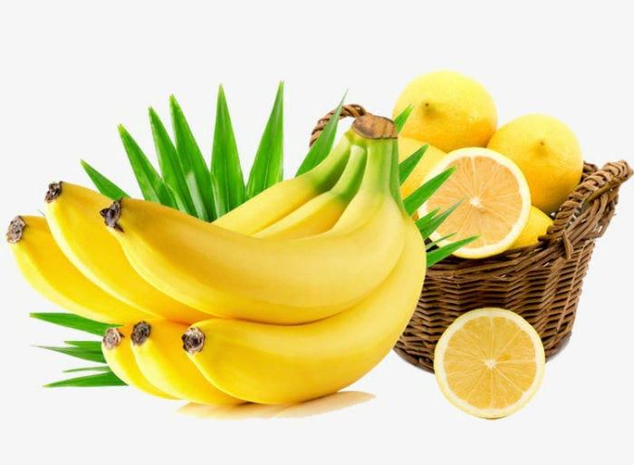 ваза с лимонами и бананы