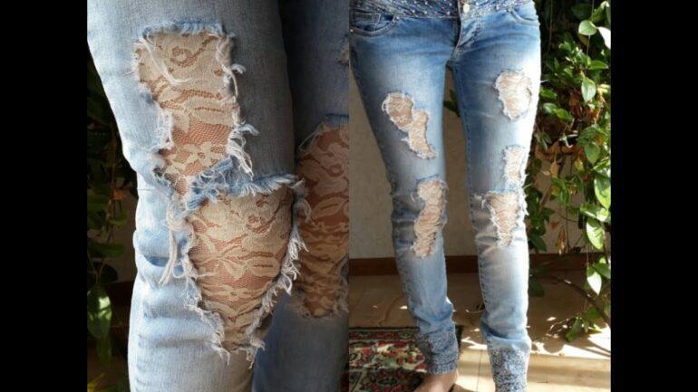 как поставить заплатку на джинсы заплатки - кружевные вставки
