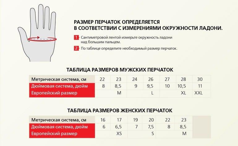Как узнать размер перчаток таблица