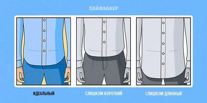 укорачиваем длину рубашки