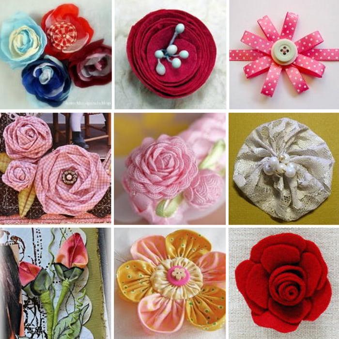 цветы из лоскутков ткани