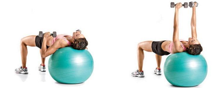 Вариант упражнения с гантелями на фитоболе